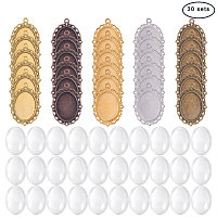 PandaHall Elite 30 PCS 5 Color Oval Pendant Trays Bezel and 30 PCS 25 x 18mm Glass Cabochon Dome Tiles Clear Cameo, Total 60 Pieces(30 Sets) for Crafting DIY Jewelry Making