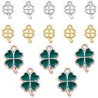 PandaHall 90PCS Clover Pendant Charm Set, 30pcs Plastic Enamel Green Pendants with 60pcs 2 Colors Alloy Four Leaf Clover Charms for Necklace Bracelet Jewelry Making,Silver/Golden