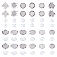 CHGCRAFT DIY Brooch Making, with Alloy Brooch Cabochon Bezel Settings and Transparent Glass Cabochons, Mixed Shapes, Antique Silver, 192x105x16.5mm; Setting: 24pcs/box
