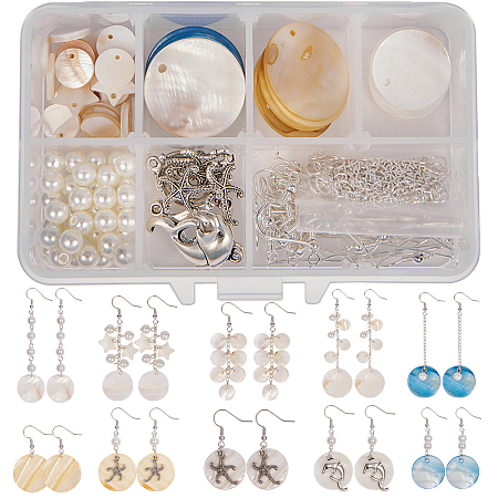 SUNNYCLUE DIY Earring Making, with Shell Pendants, Glass Pearl Beads, Alloy Pendants, Iron Twisted Chains and Brass Earring Hooks, Mixed Color, 11x7x3cm