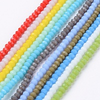 Arricraft Imitation Jade Glass Beads Strands, Faceted, Rondelle, Mixed Color, 3x2mm, Hole: 0.5mm, about 193~195pcs/strand, 16.7 inches
