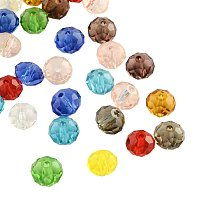 NBEADS 200 Pcs Faceted Abacus Transparent Glass Beads for Jewelry Making, Mixed Color, 10x7mm