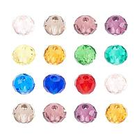 ARRICRAFT 200pcs Faceted Abacus Transparent Glass Beads, Mixed Color, 4x3mm, Hole: 1mm