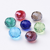 Glass Beads, Crystal Suncatcher, Faceted Rondelle, Mixed Color, 10x7mm, Hole: 1mm