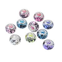 NBEADS 100PCS 14MM Pandora Style Large Hole Acrylic Charms Beads Spacers with Flower Pattern Fit European Charm Bracelet
