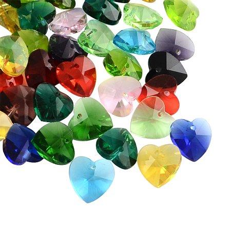 NBEADS 100 Pcs Transparent Glass Heart Pendants, Faceted, Mixed Color, 14x14x8mm, Hole: 1.5mm
