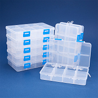 BENECREAT 8 Pack 8 Grids Large Transparent Plastic Storage Box Bead Organizer Adjustable Dividers Jewelry, Beads, Tools, Craft Accessories Other Small Items - 6.4x3.85x1.18 Inch