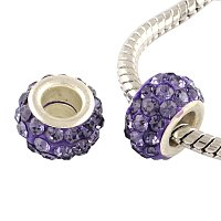 NBEADS 100pcs Violet Color Pave Crystal Clay Beads, Rhinestone Large Hole European Charms Beads fit Bracelet Jewelry Making