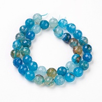 Natural Agate Beads Strands, Round, 10mm, Hole: 1mm; about 37~39pcs/strand, 14.5~15.5 inches