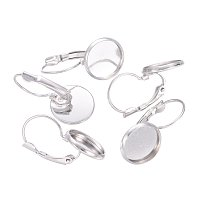 NBEADS 200 Pcs Brass Earring Components, Nickel Free, Platinum, About 14mm Wide, 27mm Long, fit for 12mm Cabochons