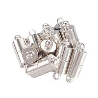 NBEADS 100 Sets Platinum Brass Magnetic Clasps, Column Magnetic Fasteners Beads Clasp for Bracelet Necklace Jewelry Making Findings