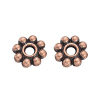 NBEADS 300 Pcs 5mm Alloy Red Copper Flower Spacer Beads Loose Beads for DIY Jewelry Making Findings