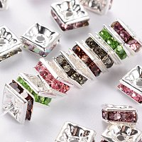 NBEADS Brass Rhinestone Spacer Beads, Square, Nickel Free, Silver, Mixed Color, About 5mm Long, 5mm Wide, 2.5mm Thick, Hole: 1mm