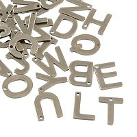 NBEADS 200pcs 304 Stainless Steel Alphabet Charms Letter pendants Loose Beads
