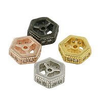 NBEADS 10PCS 3.5x10mm Brass Micro Pave Cubic Zirconia Beads Mixed Color Hexagon Hollow Beads Spacer Beads for Jewelry Making