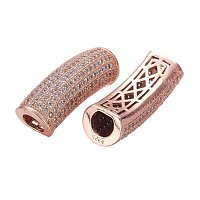 NBEADS 1PCS Hollow Brass Micro Pave Cubic Zirconia Bead Rose Gold Tube Column Spacer Bead Large Hole Jewelry Bracelet Connector Bead, 29x10x8mm