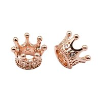 NBEADS 20pcs Rose Gold Color Cubic Zirconia Micro Pave King Queen Crown Beads Bracelet Connector Spacer Charm Beads, Brass Large Hole Loose Beads for Bracelet Necklace DIY Jewelry Making Crafts