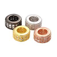 NBEADS 10 Pcs Random Mixed Color Brass Large Hole Rondelle Beads Micro Pave Cubic Zirconia Crystal Rhinestone European Beads for Necklace Bracelet Jewelry Making, Lead Free & Nickel Free