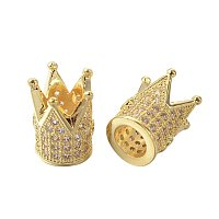 NBEADS 10 Pcs Cubic Zirconia Crown Beads, Golden Micro Pave King Crown Spacer Beads Bracelet Connector Charm Beads for DIY Jewelry Making Crafts, Lead Free & Nickel Free