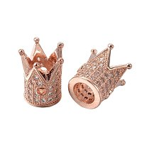 NBEADS 10 Pcs Cubic Zirconia Crown Beads, Rose Gold Micro Pave King Crown Spacer Beads Bracelet Connector Charm Beads for DIY Jewelry Making Crafts, Lead Free & Nickel Free