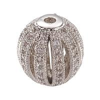 NBEADS 10 Pcs Platinum Hollow Micro Pave Cubic Zirconia Beads Round Disco Ball Beads for DIY Jewelry Charm Bracelet Making