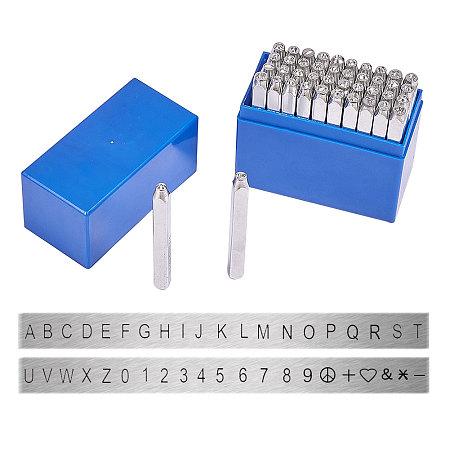 PandaHall Elite 42 Pcs Letter and Number Metal Stamp Set, 1/8
