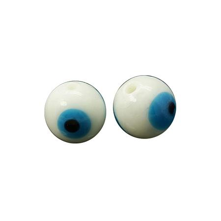 NBEADS 200 Pcs White Evil Eye Lampwork Glass Beads Round Handmade Charm Beads Spacer Beads of Jewelry Findings for Bracelet, Necklace