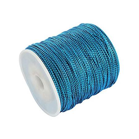 PandaHall Elite 109 Yard 1mm Non Stretch Metallic Cord Rope Tinsel String Jewelry Braided Thread Gift Wrap Ribbon Metallic Tinsel Cord Rope Blue