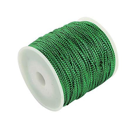 PandaHall Elite 109 Yard 1mm Non Stretch Metallic Cord Rope Tinsel String Jewelry Braided Thread Gift Wrap Ribbon Metallic Tinsel Cord Rope Green
