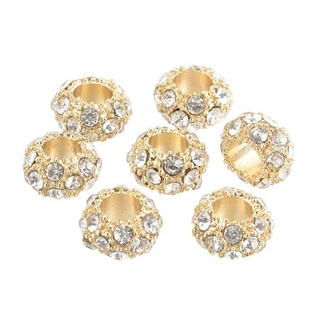 NBEADS 50 pcs Light Gold Crystal Rondelle Large Hole Beads Alloy Rhinestones European Beads for Jewelry Making 10.5x6mm, Hole: 5mm