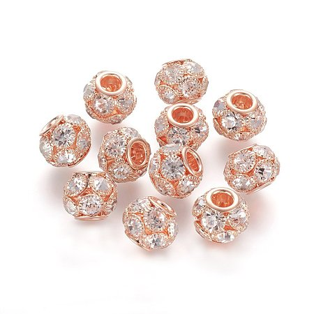 NBEADS 30 Pcs 12mm Rose Gold Grade A Rhinestone Pave Crystal Brass Beads European Charms Rondelle Beads fit Bracelet Jewelry Making