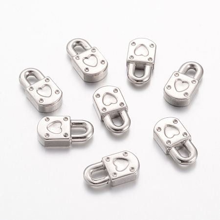 304 Stainless Steel Charms, Heart Padlock, Stainless Steel Color, 18x9.5x4mm, Hole: 3x5mm