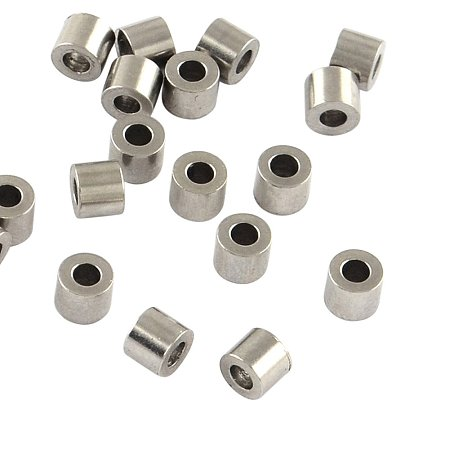 NBEADS 500 Pcs 304 Stainless Steel Column Bead Spacers, Stainless Steel Color, 2.5x3mm, Hole: 1mm