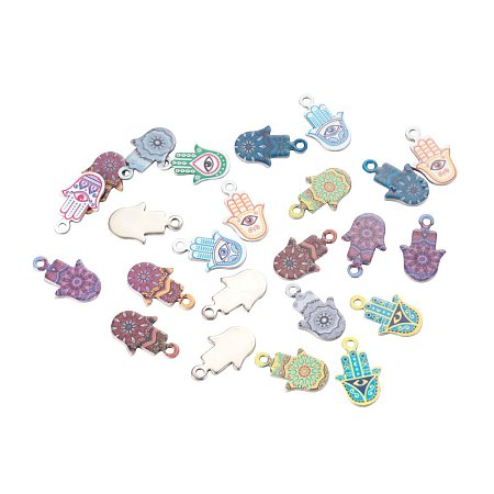 NBEADS 100 Pcs Random Mixed Color 201 Stainless Steel Hamas Hand Pendants Hand of Fatima/Miriam Charms Pendants for Crafting Jewelry Making Accessory