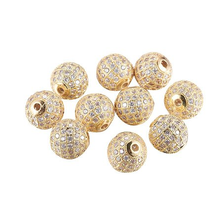 NBEADS 10PCS 12mm Gold Plated CZ Brass Micro Pave Setting Beads Clear Gemstones Cubic Zirconia Round Beads Bracelet Connector Charms Beads for Jewelry Making