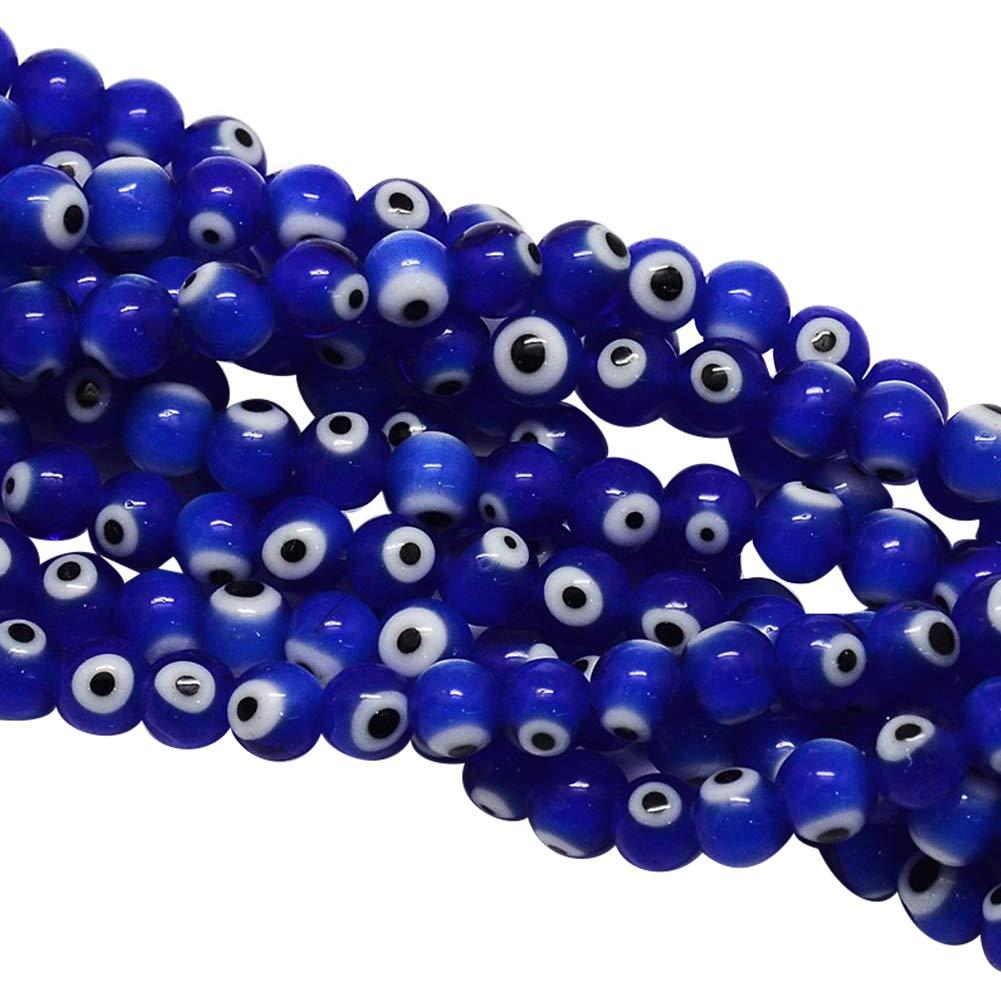 1 Strand 4mm Handmade Evil Eye Lampwork Round Beads for DIY Jewelry Craft Making