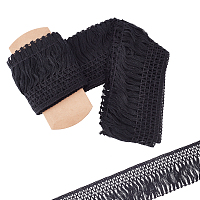 Gorgecraft Cotton Lace Ribbon Edge Trimmings, Tassel Ribbon, for Sewing Cloth Craft, Black, 4 inches(100mm), 5yards/roll(4.57m/roll)