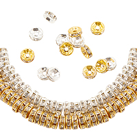 Globleland Iron Rhinestone Spacer Beads, for Jewelry Craft Making Findings, Grade B, Rondelle, Straight Edge, Clear, Golden & Silver, 80x20mm; 600pcs/box