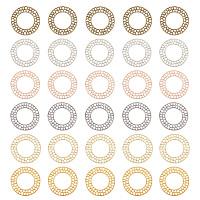 Zinc Alloy Filigree Joiners Links, Cadmium Free & Lead Free, Hollow, Flat Round, Mixed Color, 30x1.7mm, Hole: 17.3mm; 5pcs/color, 6 colors, 30pcs/box