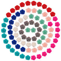 SUNNYCLUE Resin Cabochons, Rose Flower, with Storage Container/Box, Mixed Color, 7.4x7.3x2.5cm, 80pcs/box