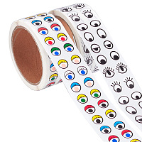 CRASPIRE Cute Eyes Self Adhesive Stickers, for Handmade Crafts, Toys and Home Decoration, Eye Pattern, 2rolls/set