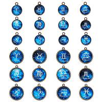 Arricraft Alloy Glass Pendants, Half Round with Twelve Constellations, Antique Bronze, Mixed Color, 22~26x19~23x6~7mm, Hole: 1.8mm, 12pcs/set, 4sets/box