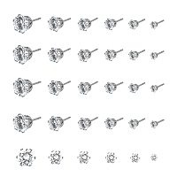 Unicraftale Stainless Steel Stud Earrings, with Clear Cubic Zirconia and Ear Nuts, Flat Round, Stainless Steel Color, 24pcs/box