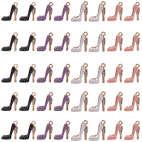 SUNNYCLUE Alloy Enamel Pendants, with Crystal Rhinestone, High-heeled Shoes, Light Gold, Mixed Color, 17.5x14x6mm, Hole: 2mm, 4color, 10pcs/color, 40pcs