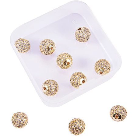Rack Plating Brass Cubic Zirconia Beads, Long-Lasting Plated, Round, Golden, 9.5~10x9~9.5mm, Hole: 2mm; 10pcs/box