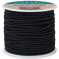 BENECREAT 2.5mm Black Elastic Cord 38 Yard Stretch Thread Beading Cord Fabric Crafting String Rope for DIY Crafts Bracelets Necklaces