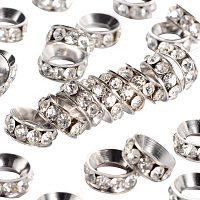 Pandahall Elite 100pcs 10mm Crystal Rhinestone Spacer Beads Platinum Plated Brass Rondelle Spacer Beads for Jewelry Making