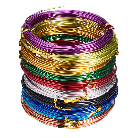 Panda Hall Elite 1 Box of 10 Rolls  Mixed Color Aluminum 12 Gage Jewelry Craft Making Beading Craft Wire 32 Feet/Roll