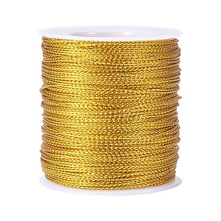 PandaHall Elite Golden Diameter 2mm Jewelry Braided Thread Metallic Cords, about 100m/roll