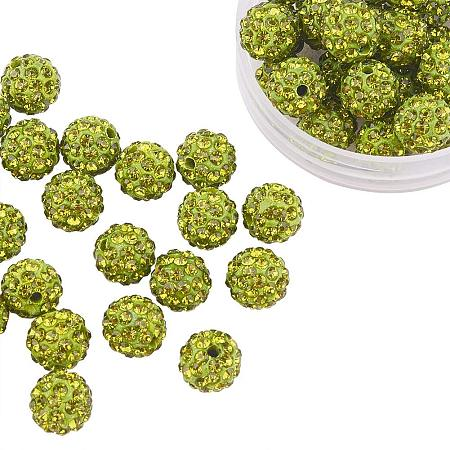 ARRICRAFT 100 Pcs 10mm Olivine Shamballa Pave Disco Ball Clay Beads, Polymer Clay Rhinestone Beads Round Charms Jewelry Makings